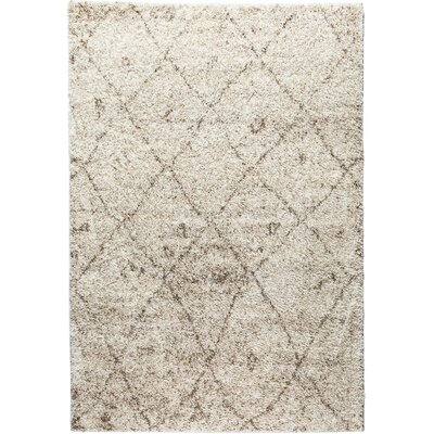 Madison Shag Moroccan Lattice Vanilla Area Rug Rug Size: 33 x 53