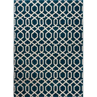 Sydney Geo Helix Navy Blue Area Rug Rug Size: 53 x 73