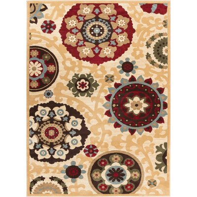 Wallaby Suzani Shift Ivory Area Rug Rug Size: 3'11