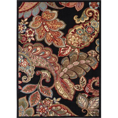 Wallaby Paisley Park Black Area Rug Rug Size: 53 x 73
