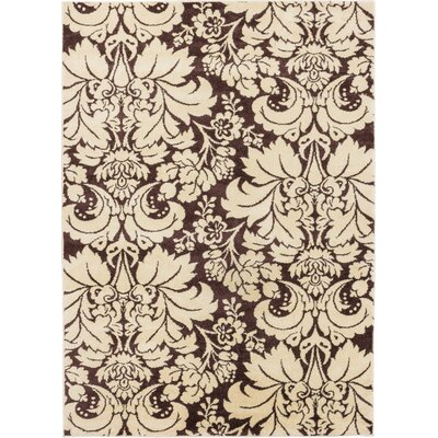 Sydney Damask Toile Brown Area Rug Rug Size: 53 x 73