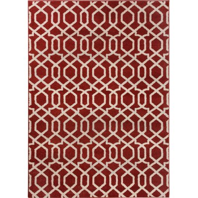 Sydney Geo Helix Red Area Rug Rug Size: Rectangle 53 x 73