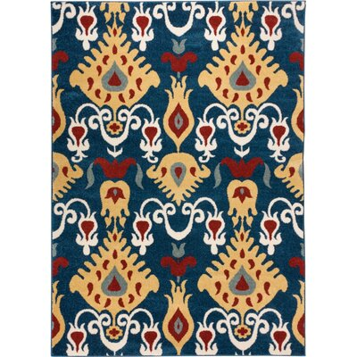 Sydney Vermilia Tribal Blue Area Rug Rug Size: Rectangle 53 x 73