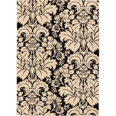 Sydney Damask Toile Black / Ivory Area Rug Rug Size: Rectangle 53 x 73