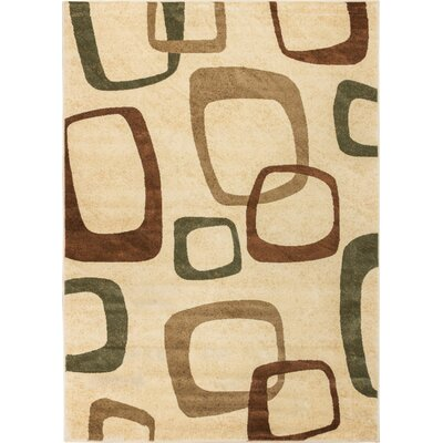 Wallaby Luna Ivory & Green Area Rug Rug Size: 53 x 73