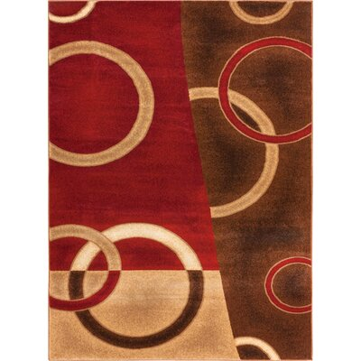 Wallaby Energie Pop Geometric Red Area Rug Rug Size: 710 x 106