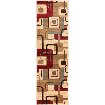 Wallaby Delightful Squares Geometric Ivory Area Rug Rug Size: Runner 23 x 73
