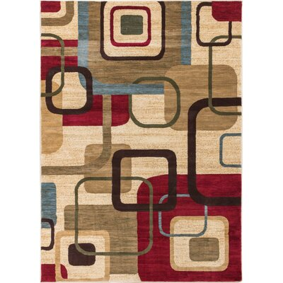 Wallaby Delightful Squares Geometric Ivory Area Rug Rug Size: 53 x 73