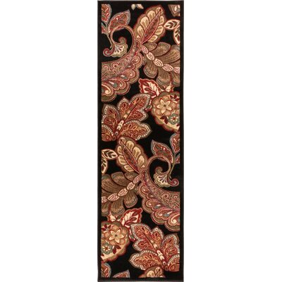 Wallaby Paisley Park Black Area Rug Rug Size: Runner 23 x 73