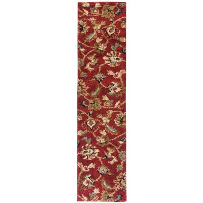 Avenue Marcy Floral Red Area Rug Rug Size: Runner 18 x 72