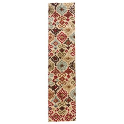 Avenue Dreamsworth Ikat Ivory Area Rug Rug Size: Runner 18 x 72