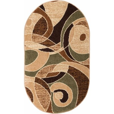 Alicea Zen Green/Brown Area Rug Rug Size: Oval 27 x 42