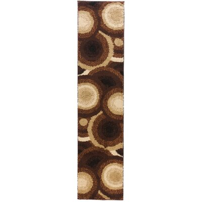 Avenue Positive Circles Brown Area Rug Rug Size: Runner 18 x 72