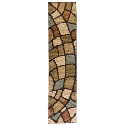 Avenue Wavy Shapes Green Area Rug Rug Size: Runner 18 x 72