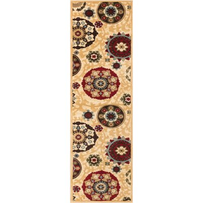 Wallaby Suzani Shift Ivory Area Rug Rug Size: Runner 27 x 12