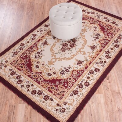 Dulcet Versaille Red/Beige Floral Area Rug Rug Size: Runner 2 x 73