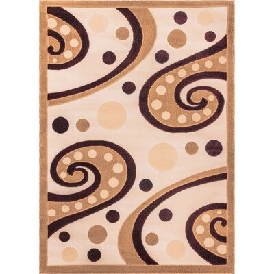 Dulcet Swirly Tone Cream/Yellow Area Rug Rug Size: 33 x 53