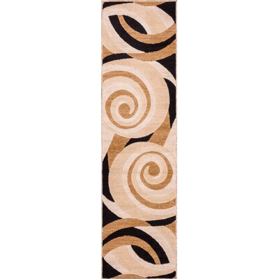 Dulcet Windy Brown Swirls Area Rug Rug Size: Runner 2 x 73