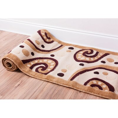 Dulcet Swirly Tone Cream/Yellow Area Rug Rug Size: Runner 2 x 73