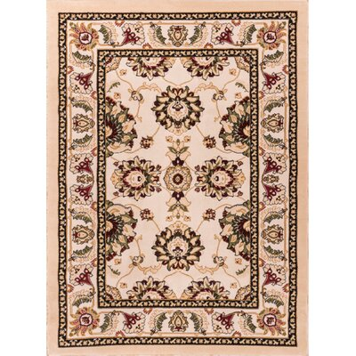 Dulcet Alana Ivory/Brown Area Rug Rug Size: 710 x 910