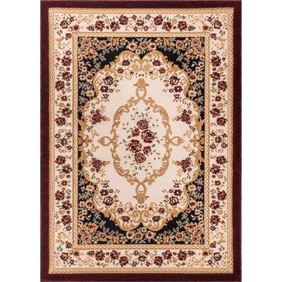 Dulcet Versaille Black/Beige Floral Area Rug Rug Size: 710 x 910
