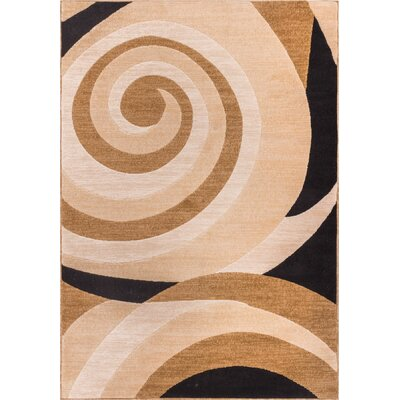 Dulcet Windy Brown Swirls Area Rug Rug Size: 3'3