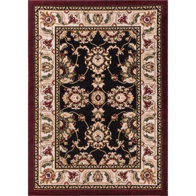 Dulcet Alana Black/Brown Area Rug Rug Size: 33 x 53