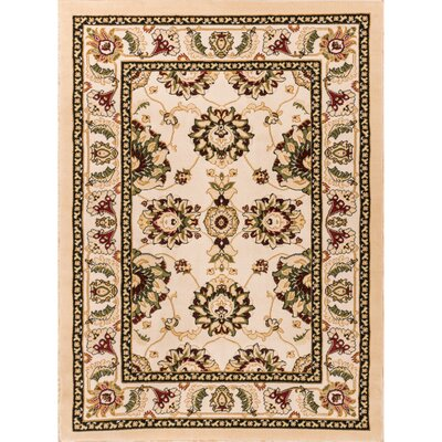 Comfy Living Classic Ivory / Beige Living Room Area Rug Rug Size: Rectangle 5 x 72