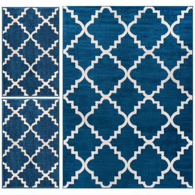 Royal Court 3 Piece Blue Area Rug Set