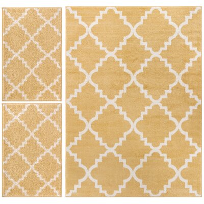 Royal Court 3 Piece Yellow Area Rug Set