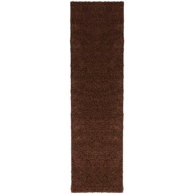 Madison Shag Coffee Bean Plain Area Rug Rug Size: Runner 18 x 72