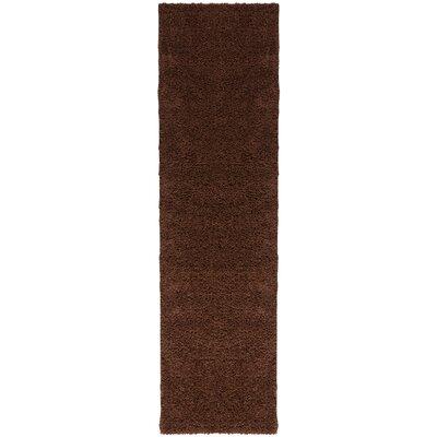 Madison Shag Coffee Bean Plain Area Rug Rug Size: Runner 18 x 72