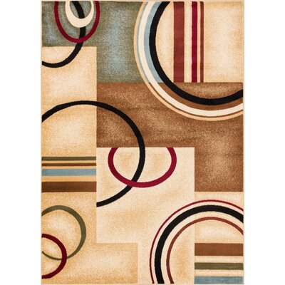 Ari Ivory Arcs and Shapes Area Rug Rug Size: 93 x 126