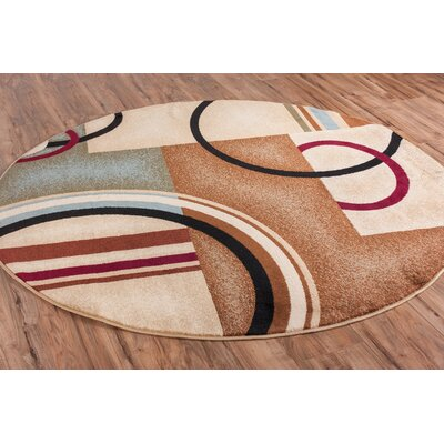 Ari Ivory Arcs and Shapes Area Rug Rug Size: Round 53