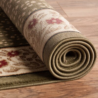 Barclay Terrazzo Border Green Floral Area Rug Rug Size: Runner 2'3