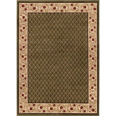 Barclay Terrazzo Border Green Floral Area Rug Rug Size: Rectangle 53 x 73