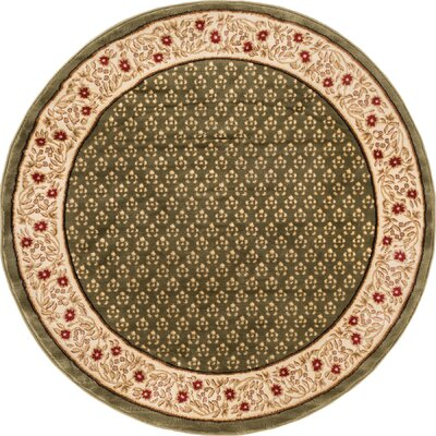 Barclay Terrazzo Border Green Floral Area Rug Rug Size: Round 5'3
