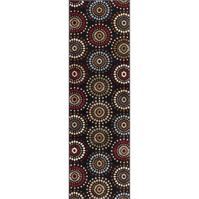 Barclay Orchid Black Fields Dots Area Rug Rug Size: Runner 23 x 73