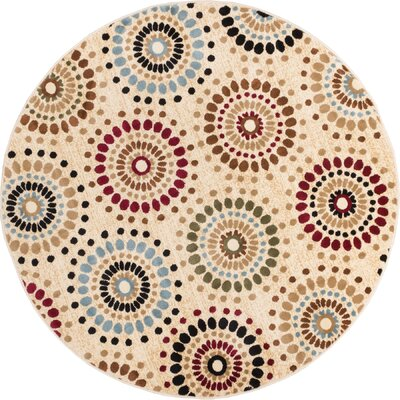 Barclay Orchid Ivory Fields Dots Area Rug Rug Size: Round 53