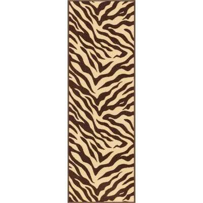 Kings Court Brown Zebra Animal Print Rug Rug Size: 33 x 47