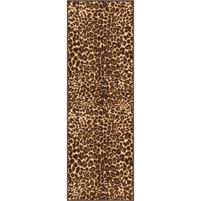 Kings Court Gold Leopard Print Area Rug Rug Size: 18 x 5