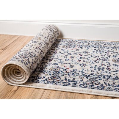 Luxury Vintage Look Blue Area Rug Rug Size: 53 x 73