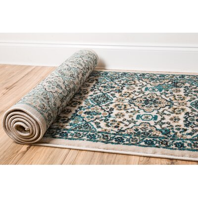 Luxury Vintage Look Green Area Rug Rug Size: 53 x 73