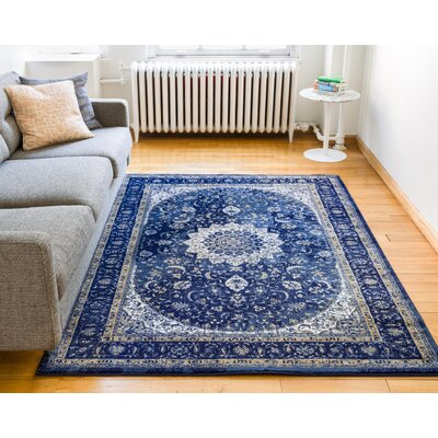 Luxury Blue Area Rug Rug Size: 53 x 73