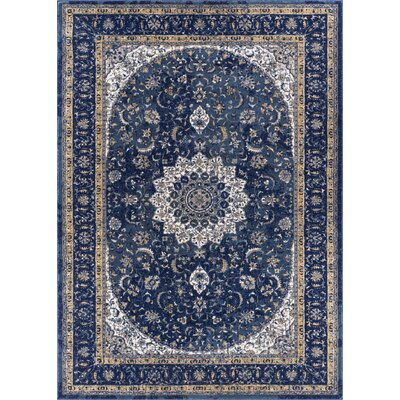 Luxury Blue Area Rug Rug Size: 53 x 73