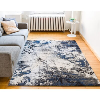 Luxury Vintage Look Blue/Beige Area Rug Rug Size: 53 x 73