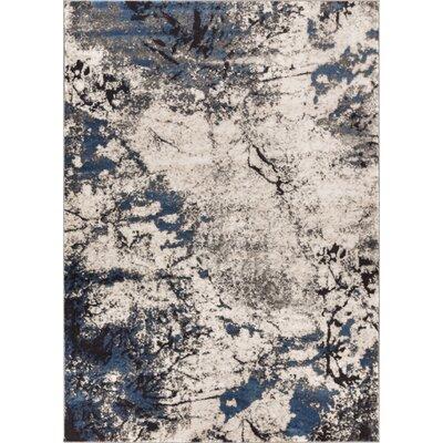 Luxury Handmade Blue/Beige Area Rug Rug Size: 710 x 106