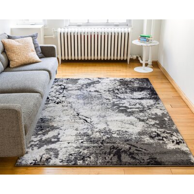 Luxury Vintage Look Grey/Beige Area Rug Rug Size: 53 x 73