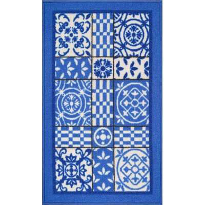 Kings Court Blue Area Rug Rug Size: 18 x 5