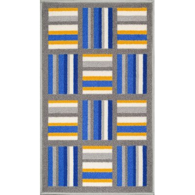 Kings Court Blue/Gray Area Rug Rug Size: 33 x 47